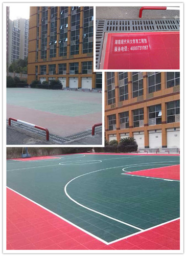 湖南省地震局悬浮运动地板篮球场施工完成