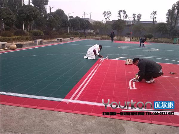 湘潭市劳动局悬浮拼装篮球场案例