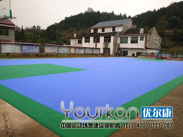 怀化新晃竹树村悬浮拼装地板篮球场整体近景
