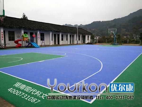 怀化新晃竹树村悬浮拼装地板篮球场整体效果图