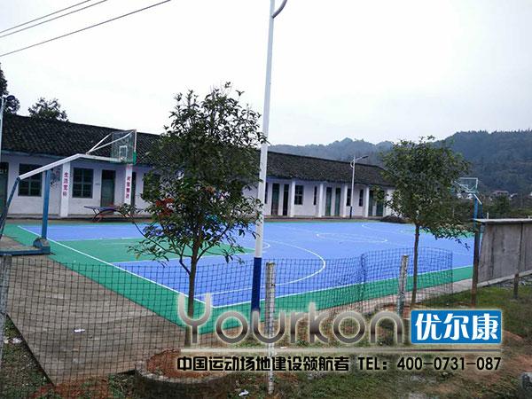 怀化新晃竹树村悬浮拼装地板篮球场局部效果图