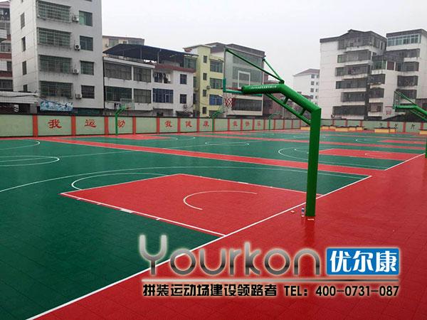 江西省安福中学悬浮拼装地板篮球场验收成功