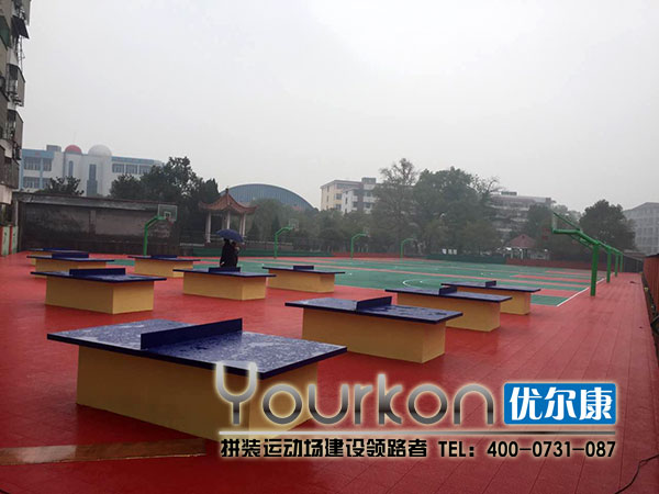 安福中学悬浮拼装地板乒乓球场