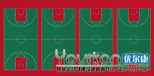 江西省安福中学悬浮拼装地板篮球场的设计图