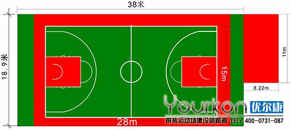 悬浮地板标准篮球场平面图