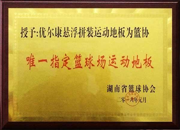 优尔康悬浮拼装地板是湖南省篮球唯一指定篮球场运动地板