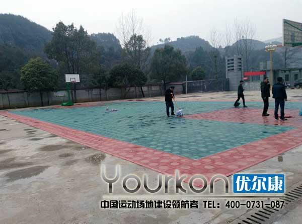 涟源大江口中学悬浮拼装地板篮球场效果图