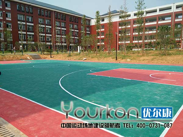 长沙连山小学室外悬浮拼装地板篮球场效果图