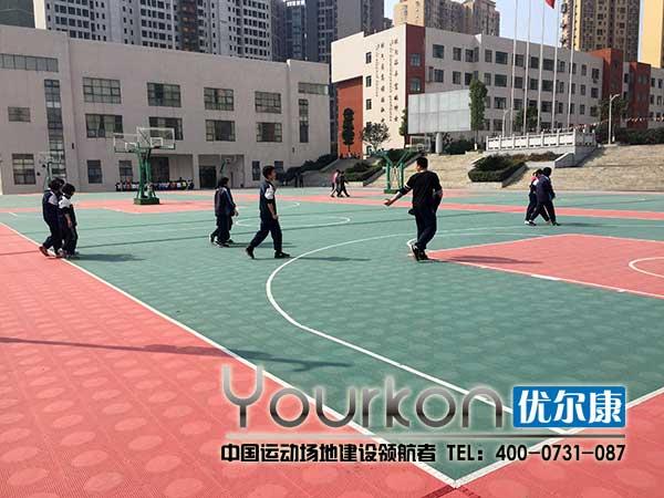 长郡雨花外国语学院悬浮拼装地板篮球场效果图