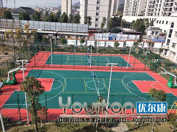 张家界人民银行悬浮拼装地板篮球场效果图