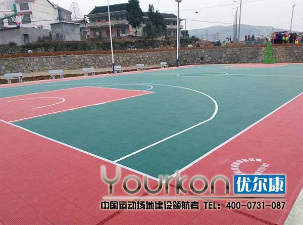涟源龙塘镇政府悬浮拼装地板篮球场效果图