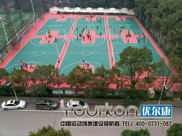 湖南省体育职业学院悬浮拼装地板篮球场效果图