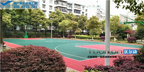 湖南省地震局悬浮拼装篮球场案例